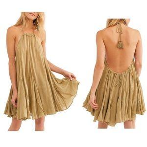 Free People Catching Rays Sage Halter Mini Dress S